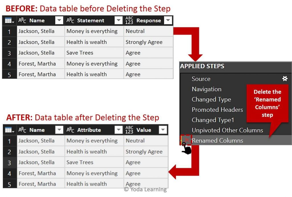 Delete steps for simple data