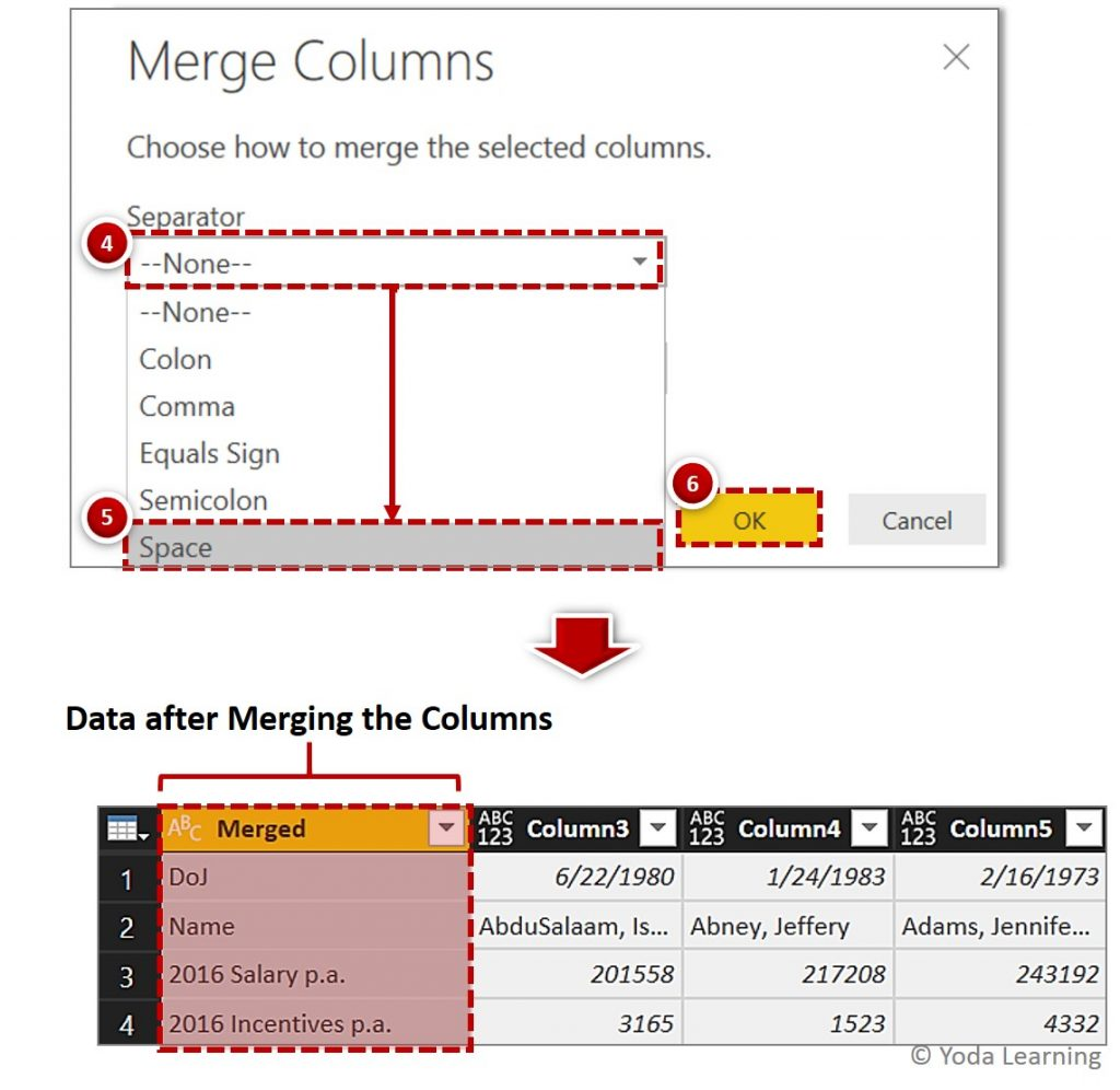 Dual Row Header Data after Merging the Columns