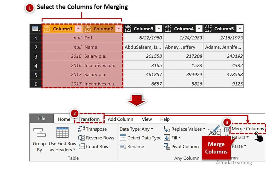 Merge Columns for Dual Row Header Data