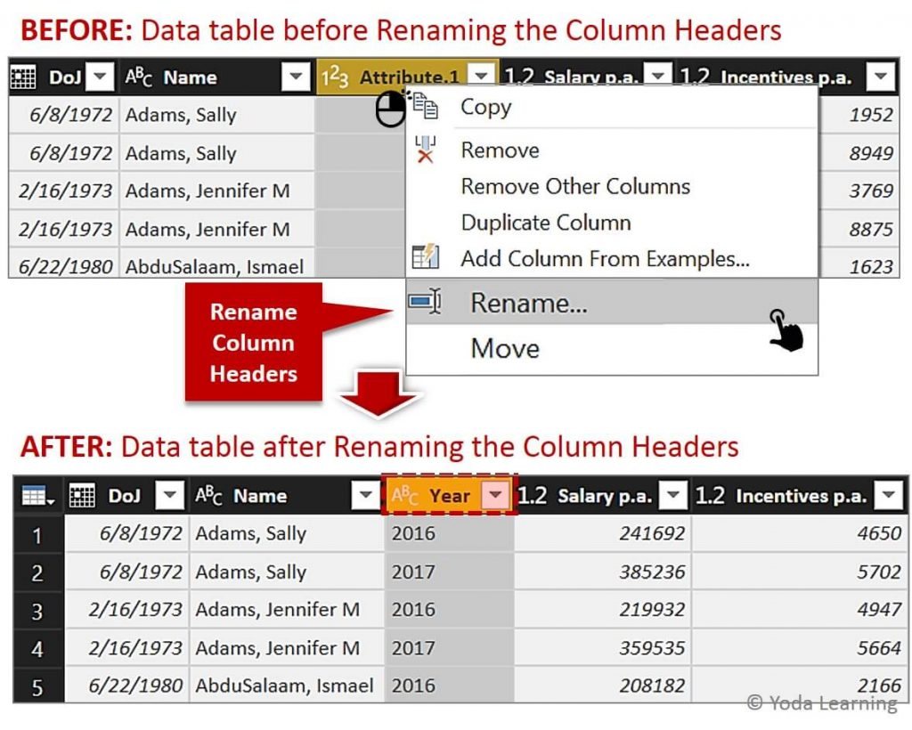 Rename Multi Column data
